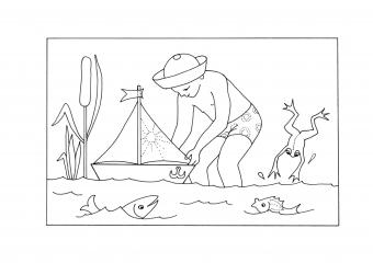 Chlapec s loďkou
