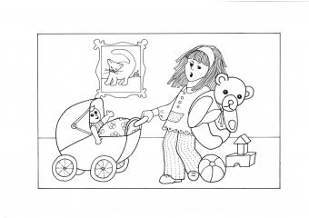 Děvčátko s kočárkem